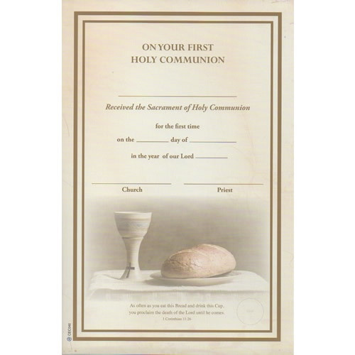 Certificate: First Holy Communion - Loaf and Cup