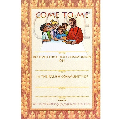 Certificate: First Holy Communion - Wheat Design
