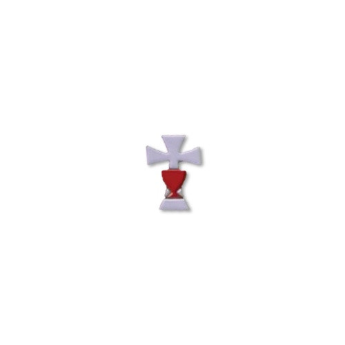 Communion Lapel Pin - White Cross and Red Chalice 15mm