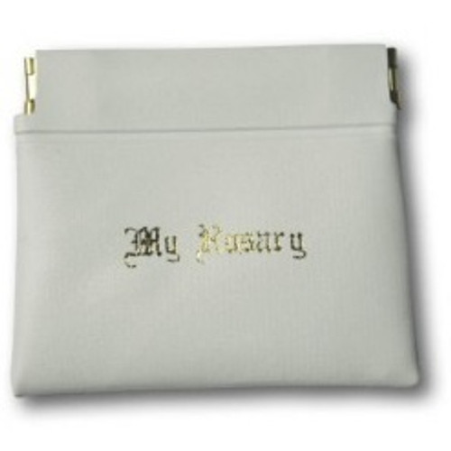 Rosary Pouch: Push Pocket White