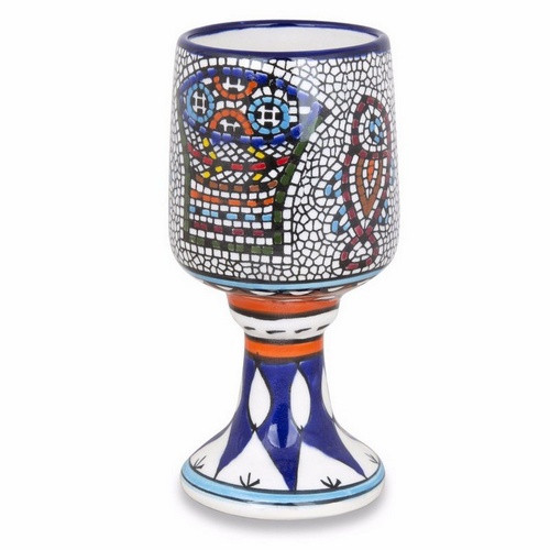 Chalice:  Ceramic with Loaves and Fishes