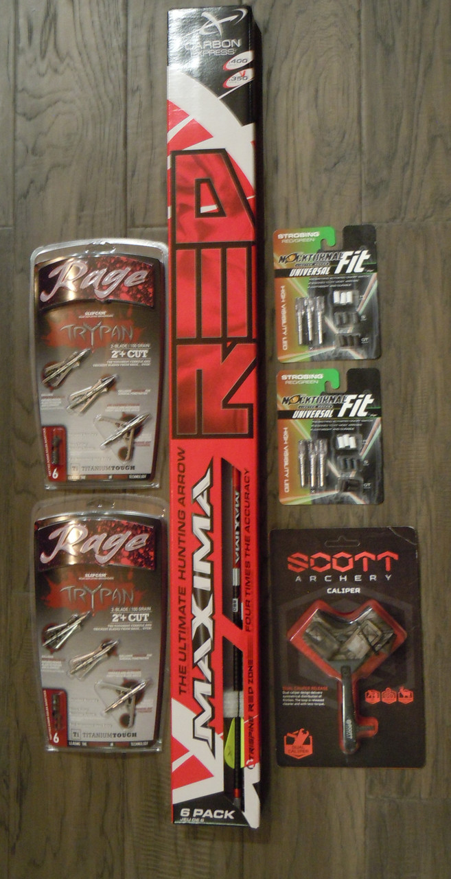 Bowhunters Package Maxima Red 350, Nocturnal Strobing R/G, Rage Trypan 100, Scott Release