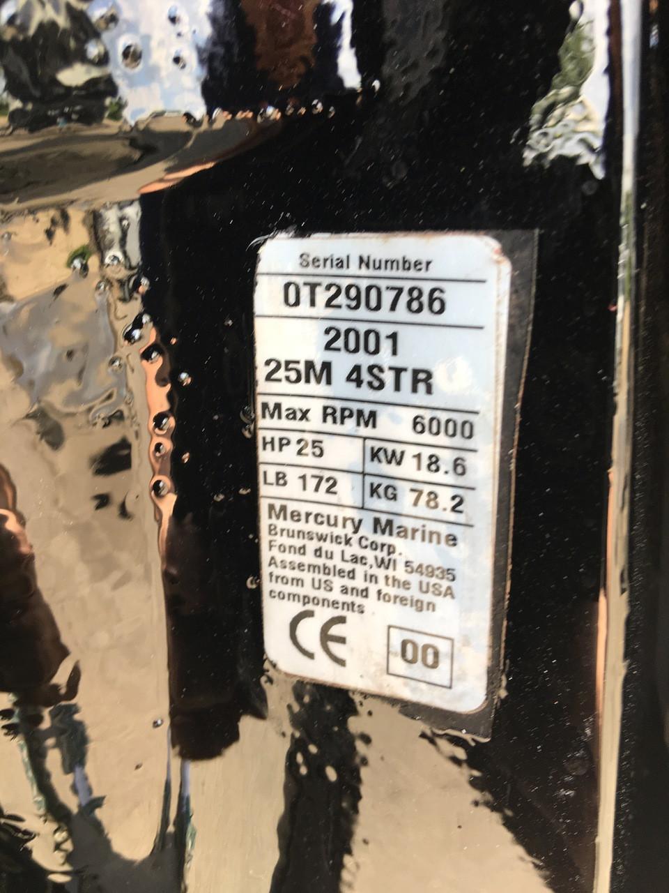 """2001 Mercury 25 HP 2 Cylinder Carbureted 4 Stroke 15"""" Bigfoot Tiller Outboard Motor"""