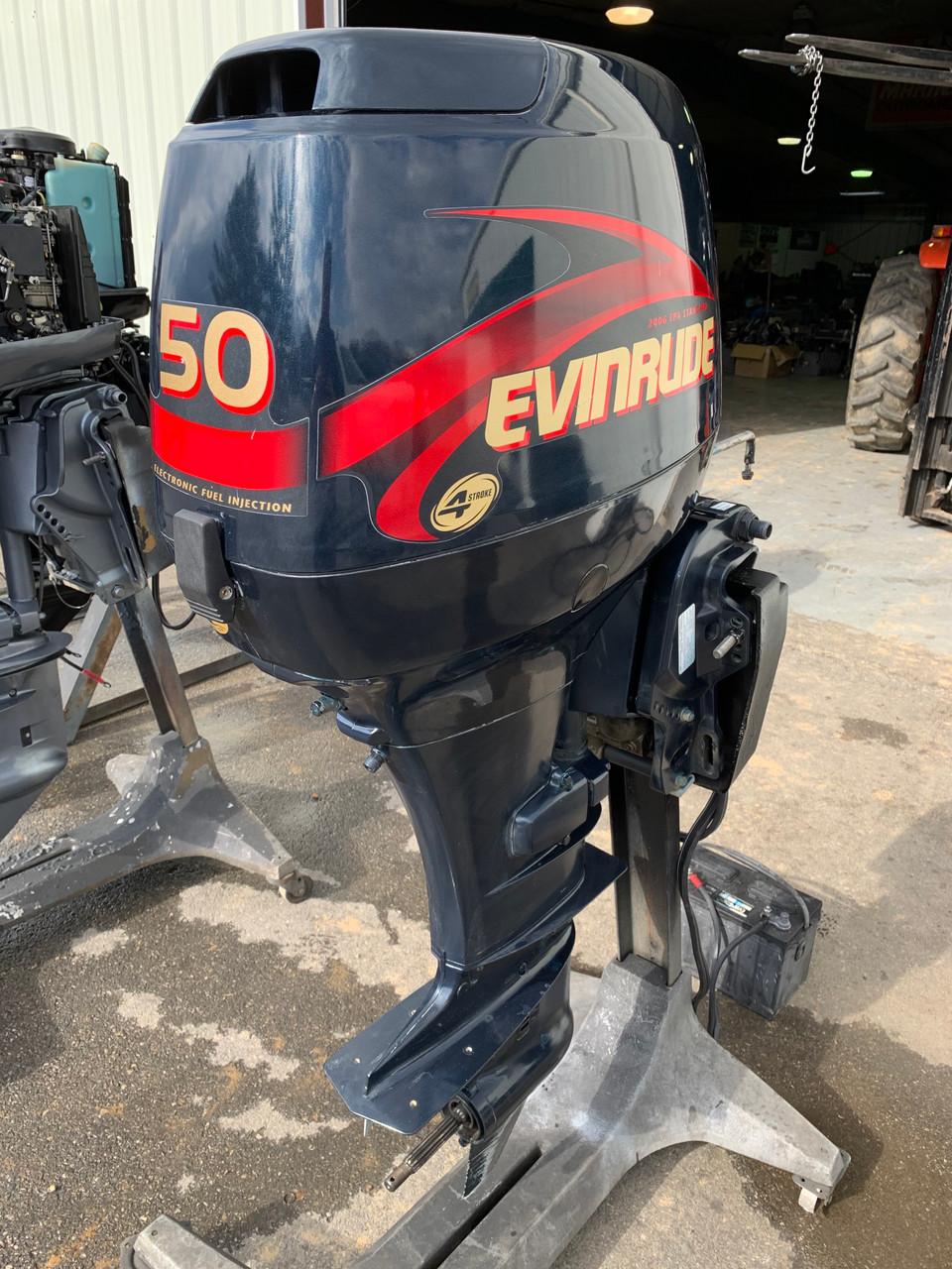 """2001 Evinrude 50 HP 3 Cylinder EFI 4 Stroke 20"""" (L) Outboard Motor"""
