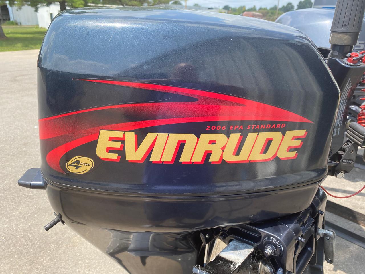 """2001 Evinrude 15 HP 2-Cyl Carbureted 4-Stroke 20"""" (L) Outboard Tiller Motor"""