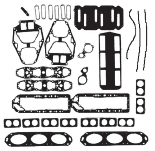New Red Rhino Mercury/Mariner V6 2.0L 135/150 HP Powerhead Gasket Kit [1984-1991] [Replaces OEM# 27-90484A88]