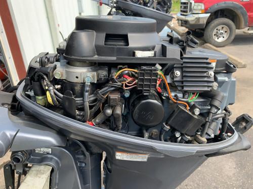 """2010 Yamaha 15 HP 2 Cylinder 4 Stroke 15"""" Tiller Outboard Motor"""