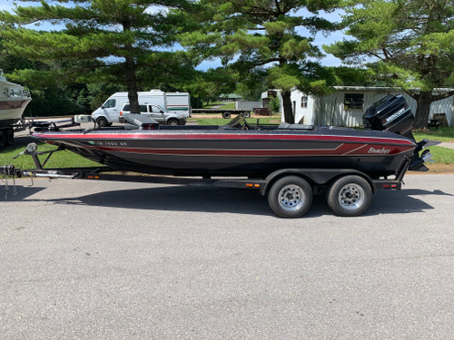 1992 Bomber 202 Pro 20' Fiberglass Bass Boat with 1992 Mercury 200 HP Outboard Motor and Tandem Axle Trailer