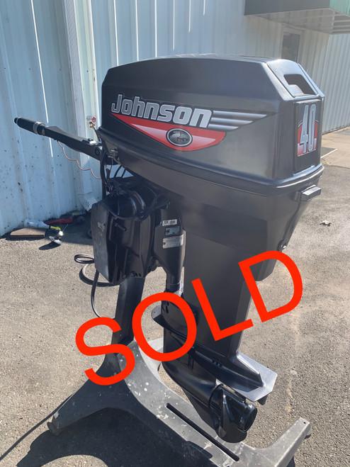 """1999 Johnson 40 HP 2 Cylinder Carbureted 2 Stroke 20"""" (L) Tiller Outboard Motor"""