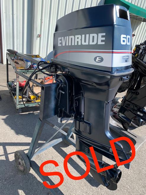 """1992 Evinrude 60 HP 3 Cylinder Carbureted 2 Stroke 20"""" (L) Tiller Outboard Motor"""