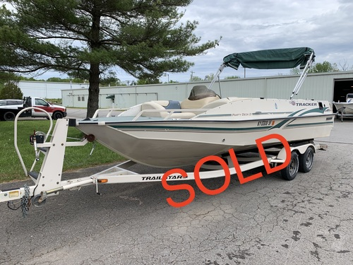 2000 Sun Tracker 21' Aluminum Party Deck Boat with MerCruiser Sterndrive and Trailer