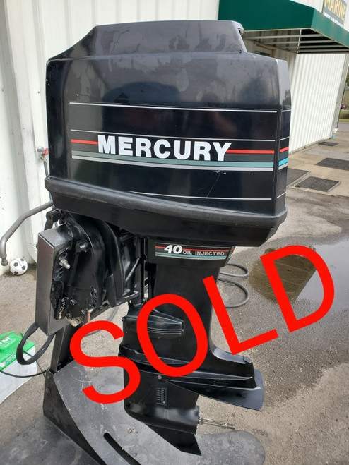 """1993 Mercury 40 HP 4-Cylinder Carbureted 2-Stroke 20"""" (L) Outboard Motor"""