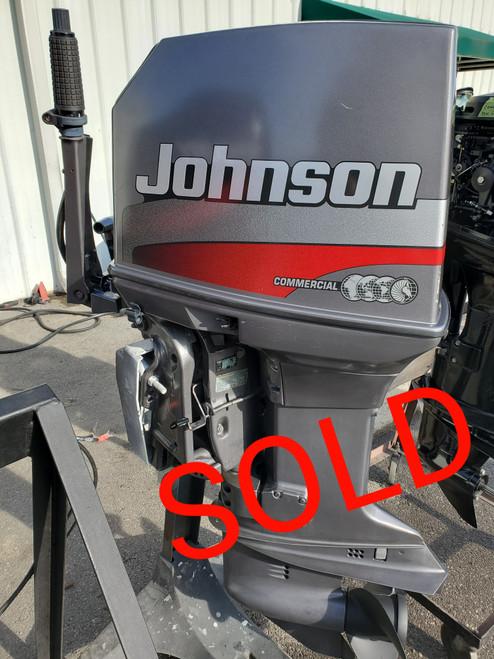 """1999 Johnson 65 HP 3-Cyl Carbureted 2-Stroke 20"""" (L) Outboard Tiller Motor"""