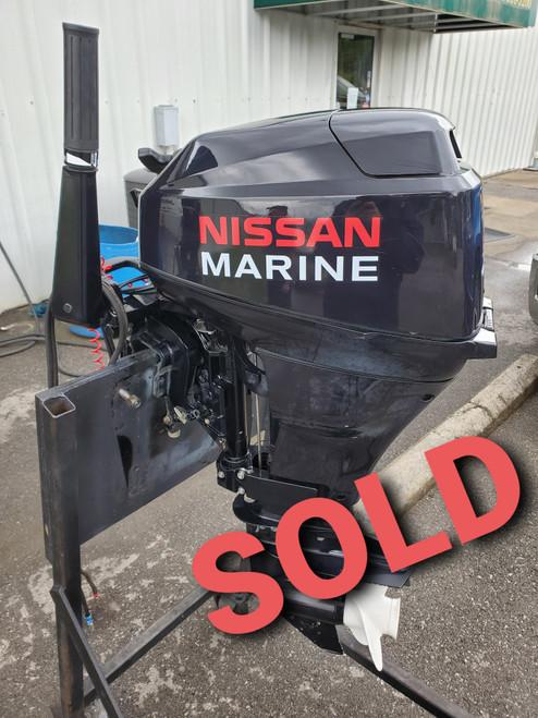 """2007 Nissan 18 HP 2-Cylinder Carb 4-Stroke 15""""(Short) Tiller Outboard Motor"""