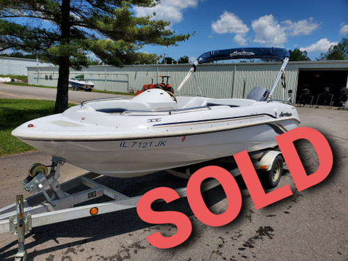 2000 Hurricane 17' Fiberglass Deck Boat with 2000 Johnson 90 HP Outboard Motor and Trailer