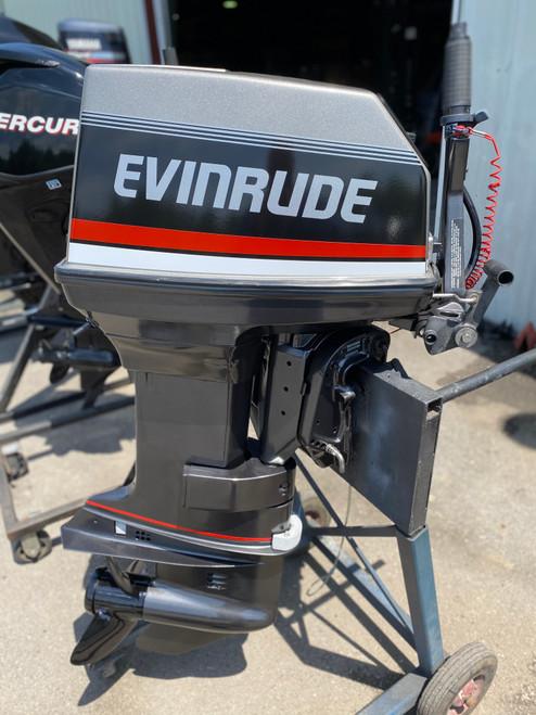 """1993 Evinrude 55 HP 2-Cylinder Carb 2-Stroke 20"""" (L) Outboard Tiller Motor"""