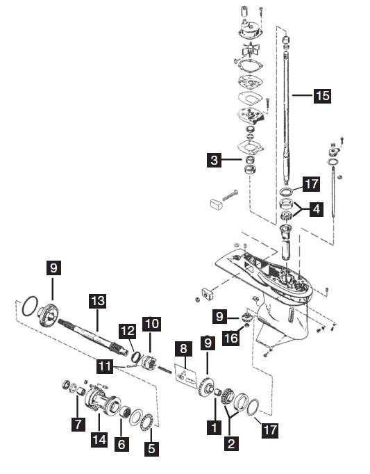 Chrysler  Force 4 Cylinder Lower Unit Parts  120 Hp 1995