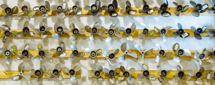 Row of used and remanufactured propellors ready to sell