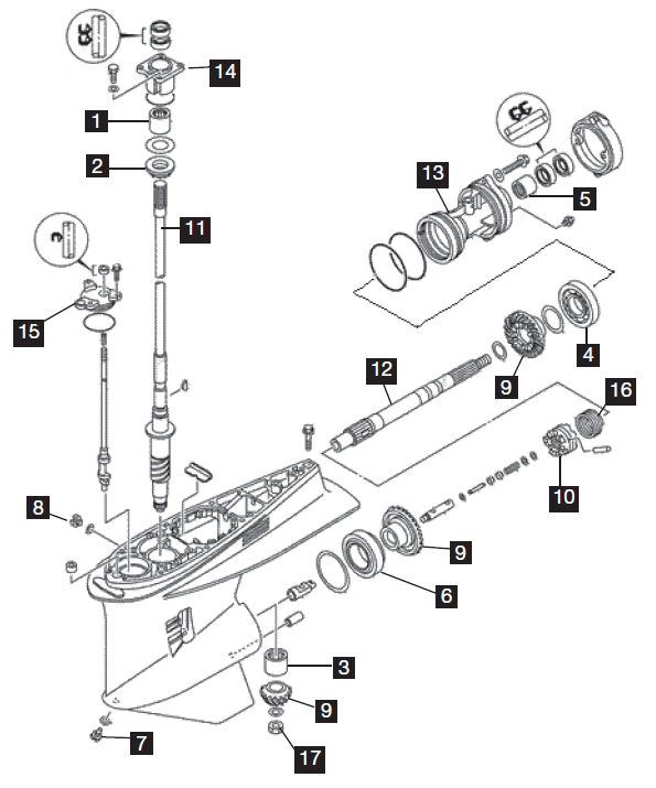 Yamaha 6 Cylinder Lower Unit Parts, 4-Stroke Bolt-In Style 225 HP 2002-2010Marine Parts Warehouse