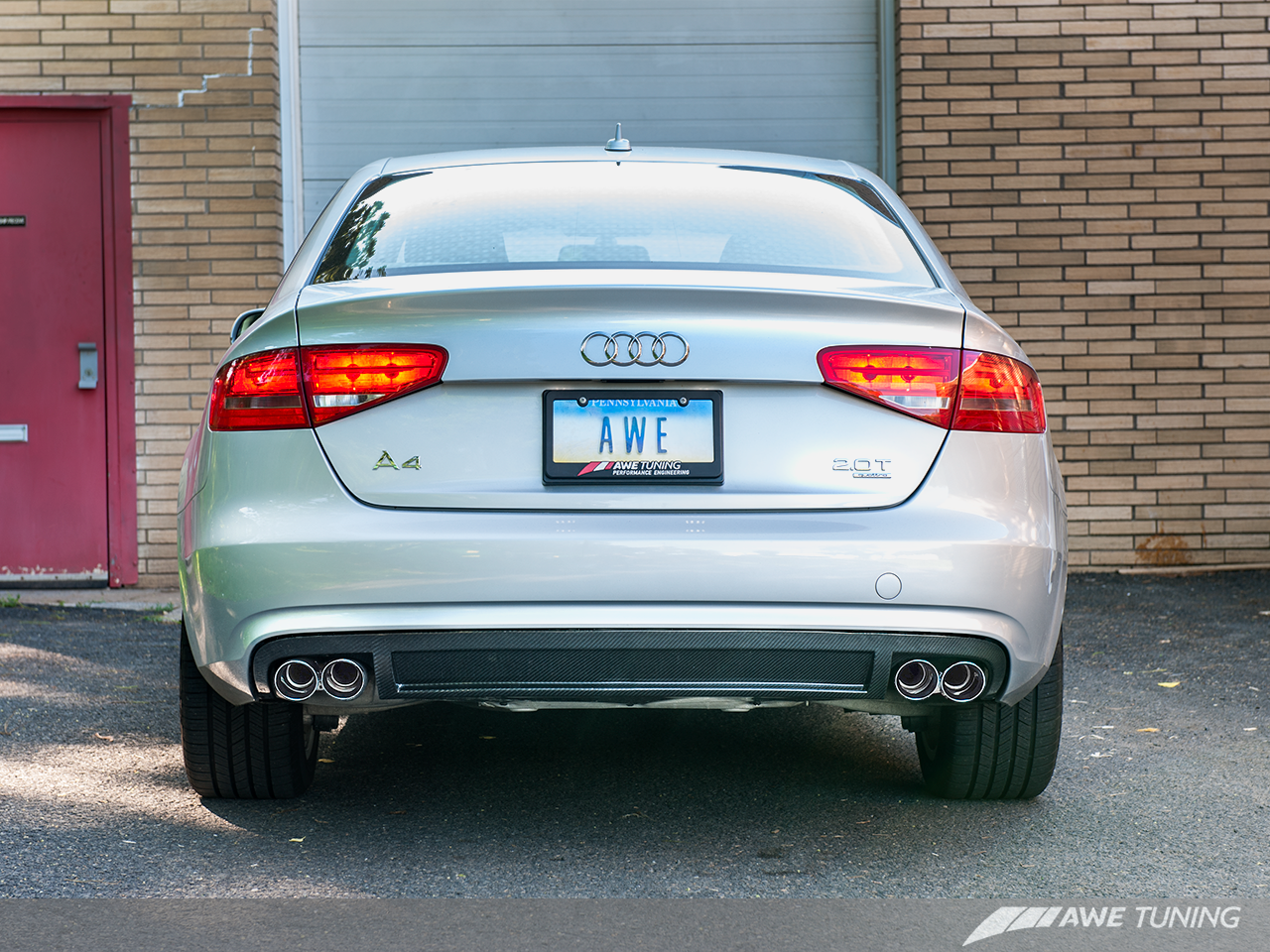 AWE Tuning A4 B8.5 2.0TFSI Touring Edition Exhaust - Carbon Fibre Rear Valance for Non-S-Line Models