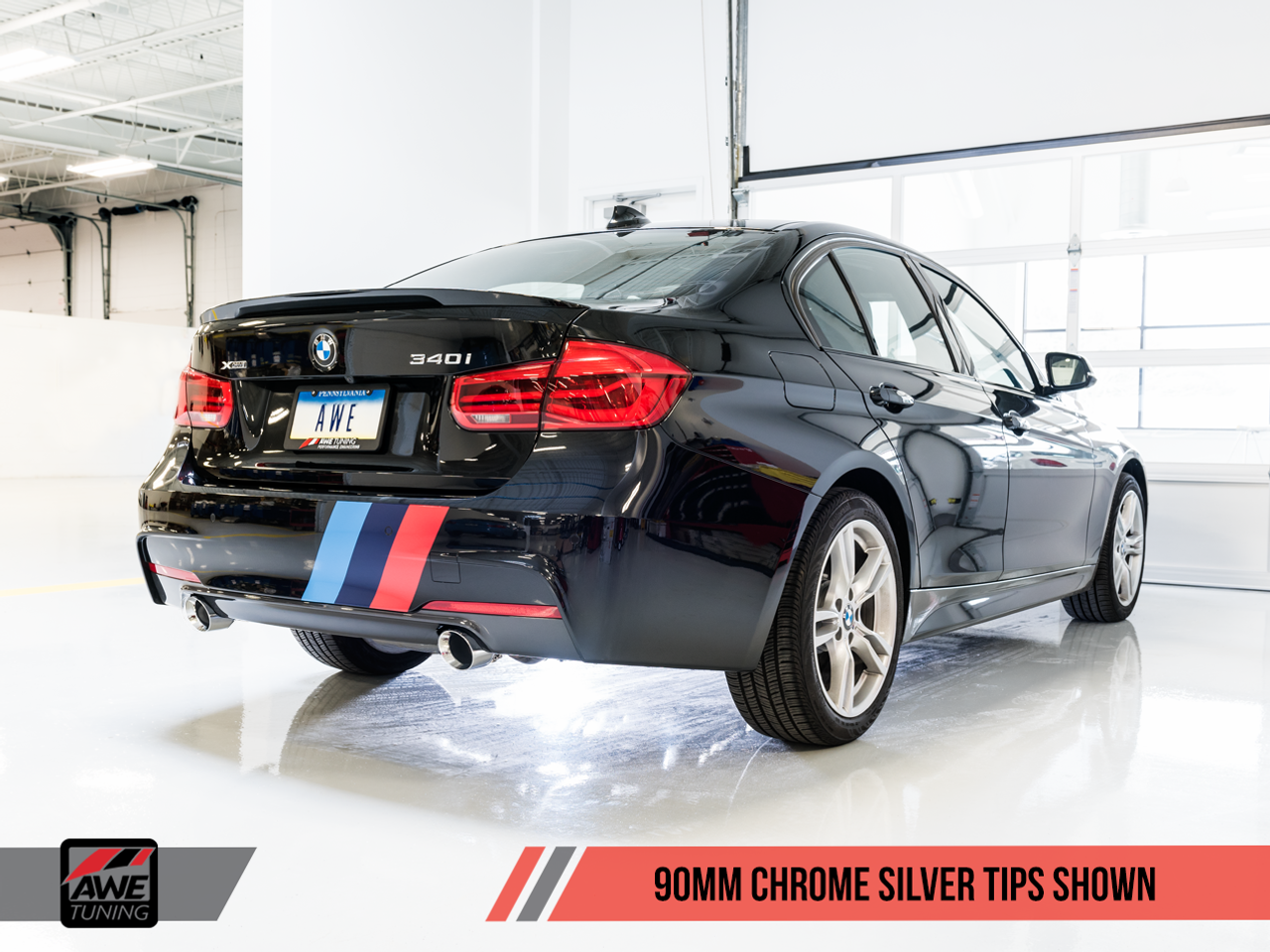 AWE Tuning BMW F3x 340i and 440i Touring Edition Axle-Back Exhaust - 90mm Chrome Silver Tailpipes