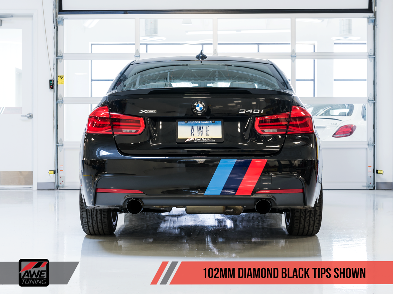 AWE Tuning BMW F3x 340i and 440i Touring Edition Axle-Back Exhaust - 102mm Diamond Black Tailpipes