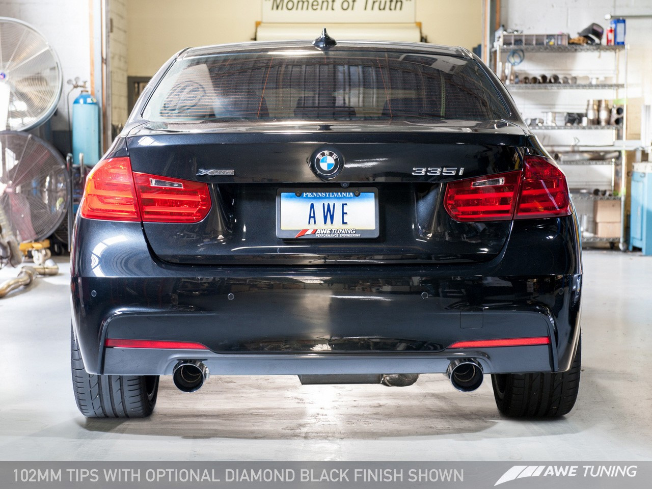 AWE Tuning BMW F3x 335i Touring Edition Exhaust - 102mm Diamond Black Tailpipes