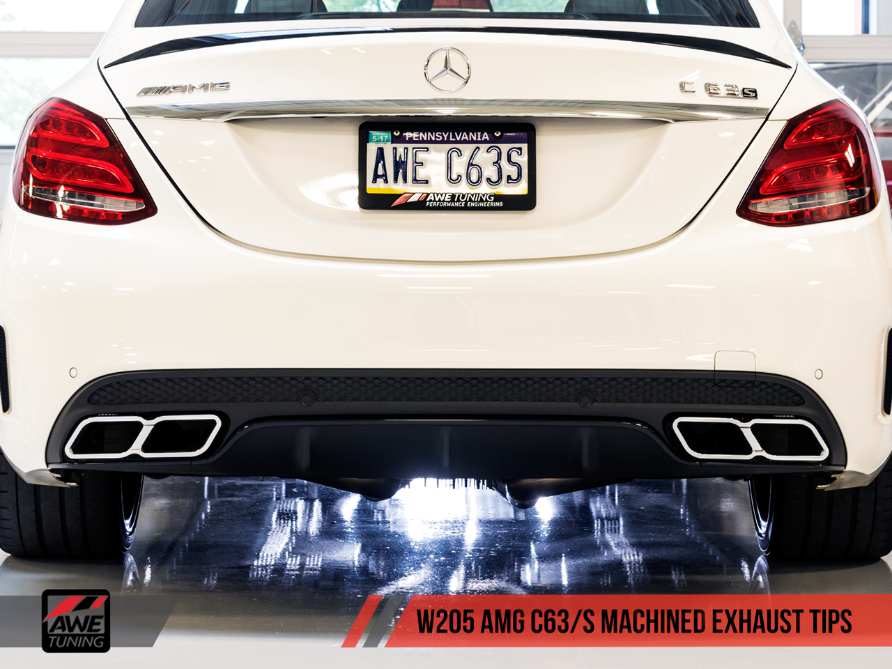 AWE Tuning Mercedes-Benz W205 AMG C63 Machined Exhaust Tailpipes