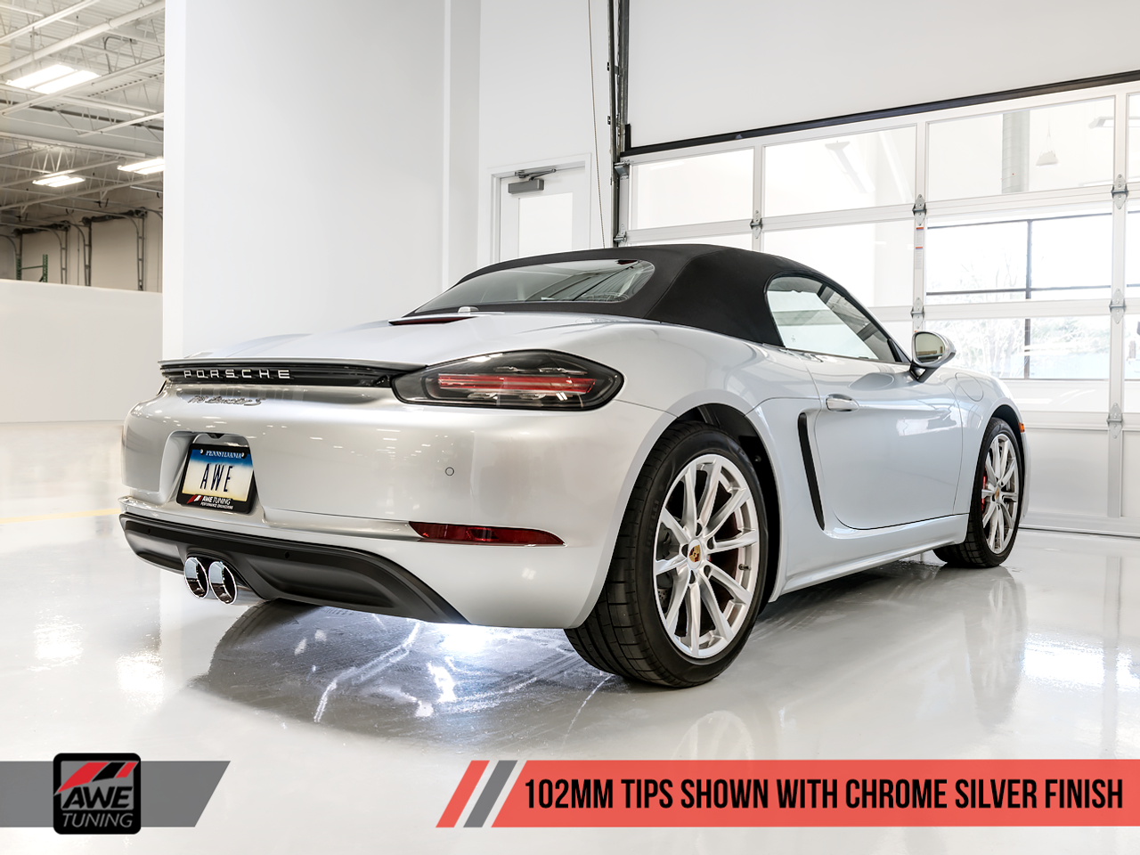 AWE Tuning Porsche 718 Boxster & Cayman Track Edition Exhaust - Chrome Silver Tailpipes