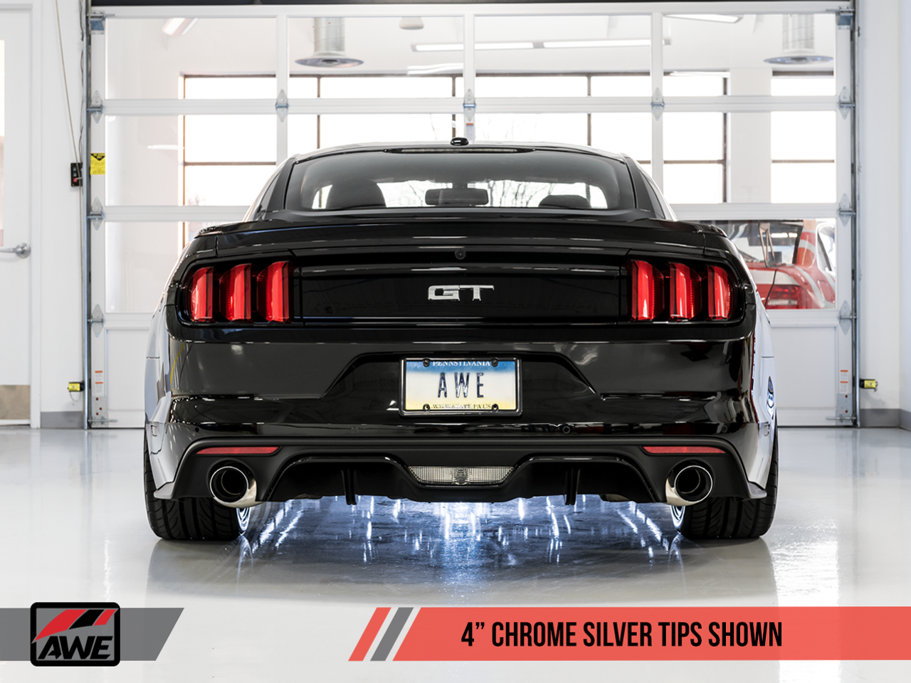 AWE Tuning Exhaust System - Ford Mustang GT - With Chrome Silver Trims