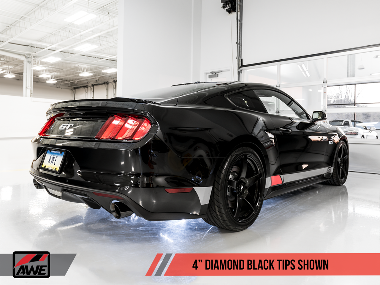 AWE Tuning Exhaust System - Ford Mustang GT - With Diamond Black Trims
