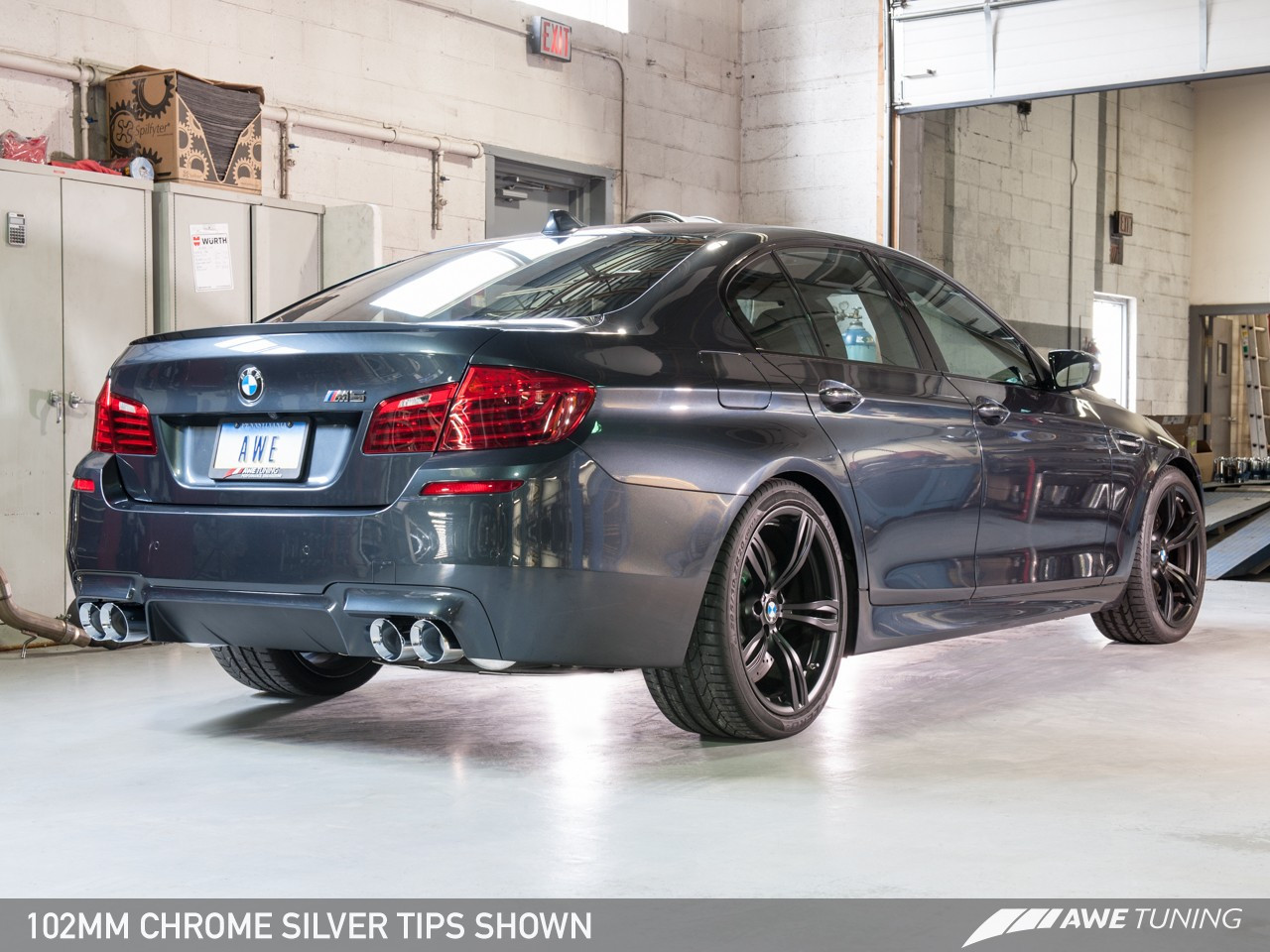 AWE Tuning Touring Edition Axle Back Exhaust for BMW F10 M5, Chrome Silver Tips