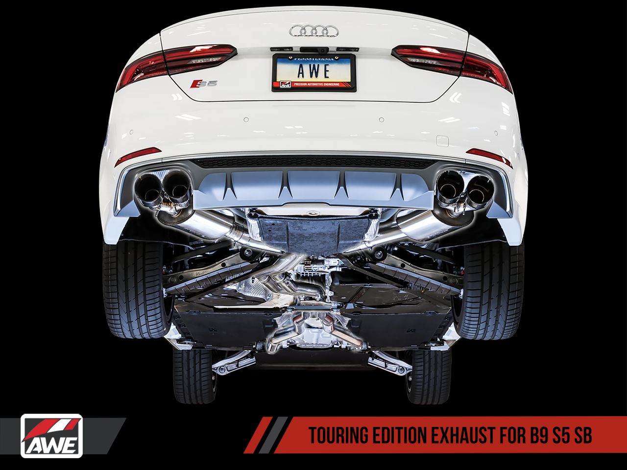 AWE Tuning Touring Edition Exhaust for Audi B9 S5 Sportback - Non-Resonated (Black 90mm Tips)