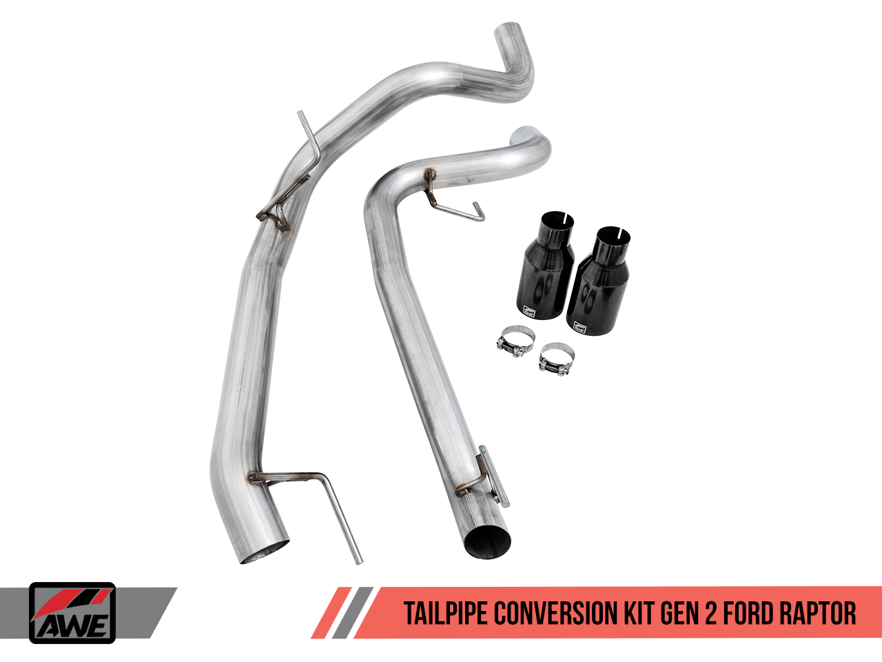"""AWE Tuning Tailpipes Conversion Kit for Ford Raptor - Diamond Black 5"""" Tips"""