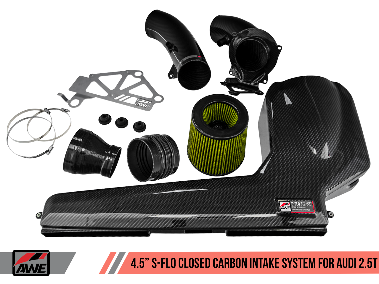 "AWE Tuning 4.5"" S-FLO Closed Carbon Intake System for Audi RS 3 / TT RS"