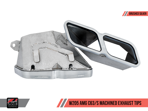 AWE Tuning Mercedes-Benz W205 AMG C63 Machined Exhaust Tailpipes - Brushed Silver