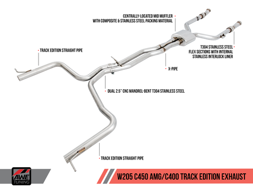 AWE Tuning Mercedes-Benz W205 C43 / C450 / C400 Track Edition Exhaust