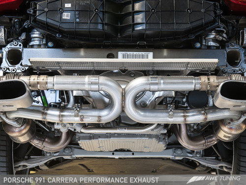 AWE Tuning Porsche 991 Carrera and Carrera 4 Performance Exhaust - Fitted with Original Tailpipe Trims