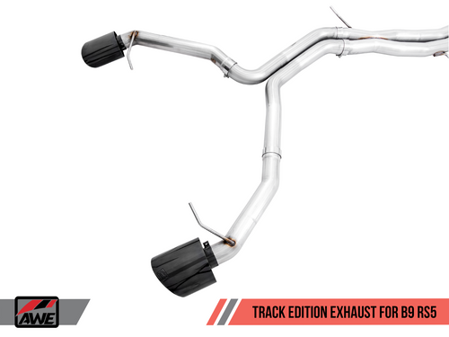 AWE Tuning Track Edition Exhaust for Audi B9 RS 5 Coupe - Non-Resonated - Diamond Black RS-style Tips