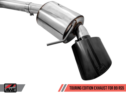 AWE Tuning Touring Edition Exhaust for Audi B9 RS 5 Coupe - Non-Resonated - Diamond Black RS-style Tips
