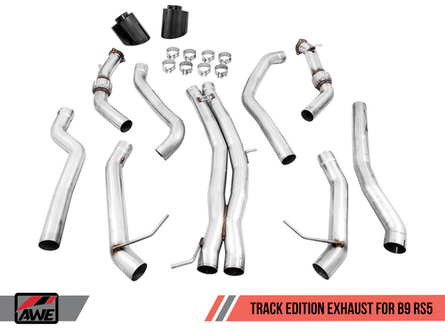 AWE Tuning Track Edition Exhaust for Audi B9 RS 5 - Resonated for Performance Catalysts - Diamond Black RS-style Tips