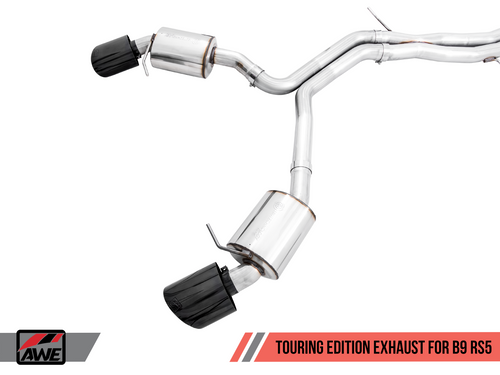 AWE Tuning Touring Edition Exhaust for Audi B9 RS 5 - Resonated for Performance Catalysts - Diamond Black RS-style Tips