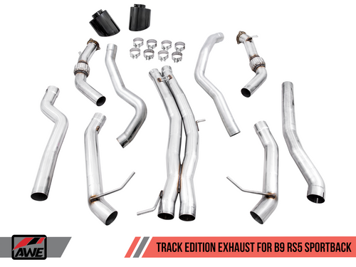 AWE Tuning Track Edition Exhaust for Audi B9 RS 5 Sportback - Resonated for Performance Catalysts - Diamond Black RS-style Tips