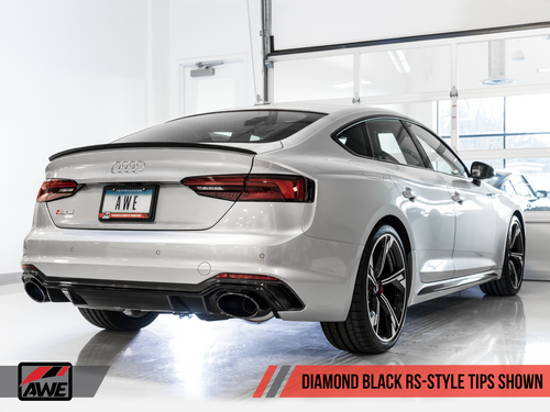 AWE Tuning Touring Edition Exhaust for Audi B9 RS 5 Sportback - Resonated for Performance Catalysts - Diamond Black RS-style Tips