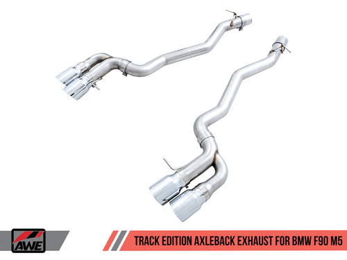 AWE Tuning Track Edition Axle-Back Exhaust for BMW F90 M5 - Chrome Silver Tips