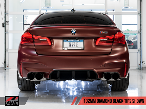 AWE Tuning Track Edition Axle-Back Exhaust for BMW F90 M5 - Diamond Black Tips