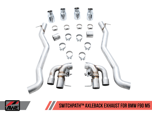AWE Tuning SwitchPath Axle-Back Exhaust for BMW F90 M5 - Chrome Silver Tips