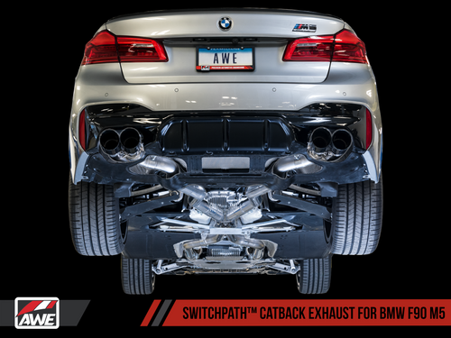 AWE Tuning SwitchPath Cat-Back Exhaust for BMW F90 M5 - Diamond Black Tips