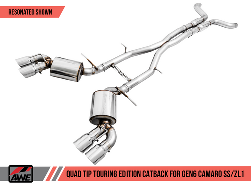 AWE Tuning Touring Edition Catback Exhaust for Gen6 Camaro SS / ZL1 - Resonated - Chrome Silver Tips (Quad Outlet)