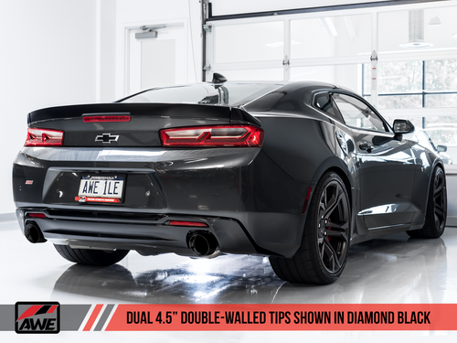 AWE Tuning Track Edition Axleback Exhaust for Gen6 Camaro SS - Diamond Black Tips (Dual Outlet)